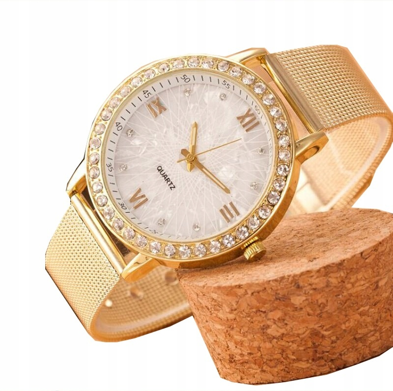 Item Ladies WATCH GOLD mother of PEARL MESH T11