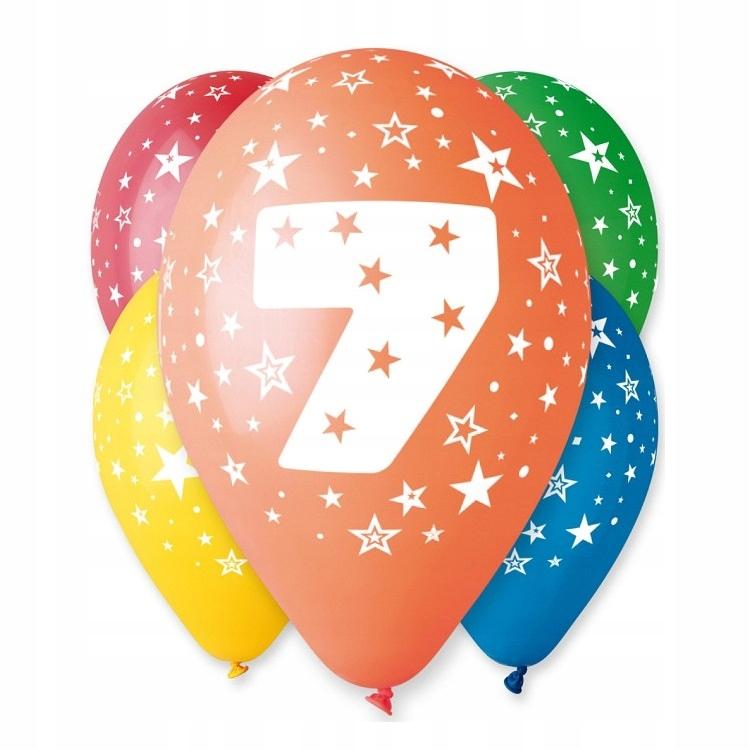 Balony Urodzinowe z Nadrukiem-Cyferka Nr 7- 5 szt.