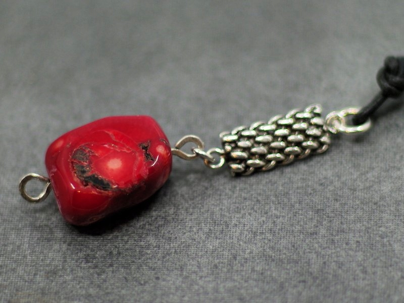 náhrdelník CORAL kožený remienok striebro 925 vintage