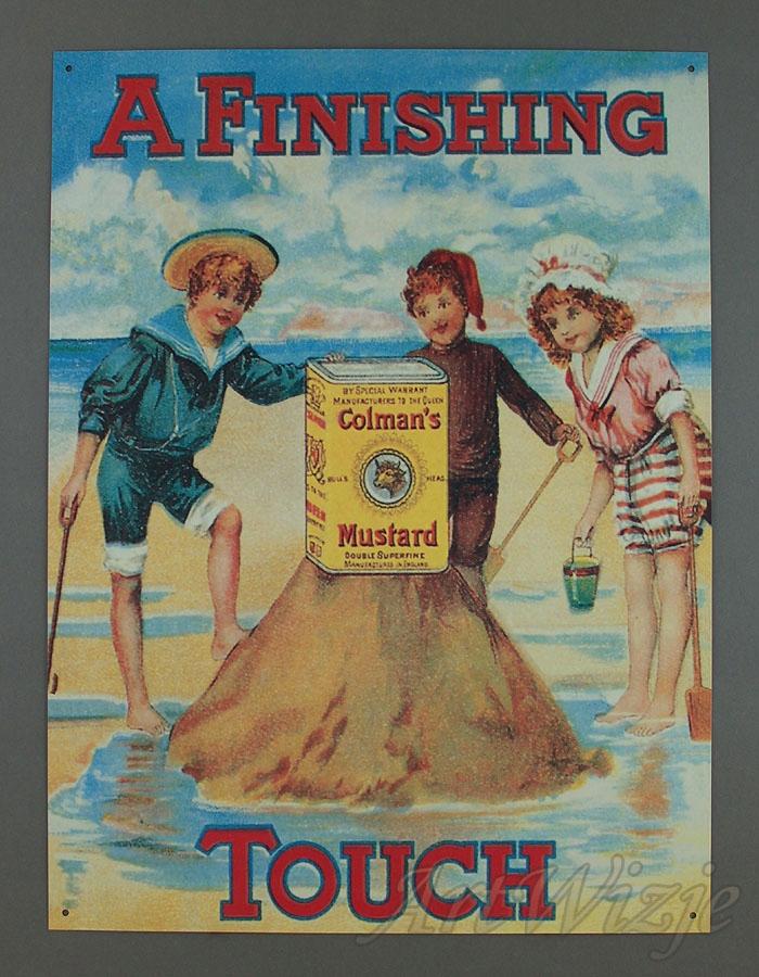 Deti, na pláži, horčica reklamný plagát retro