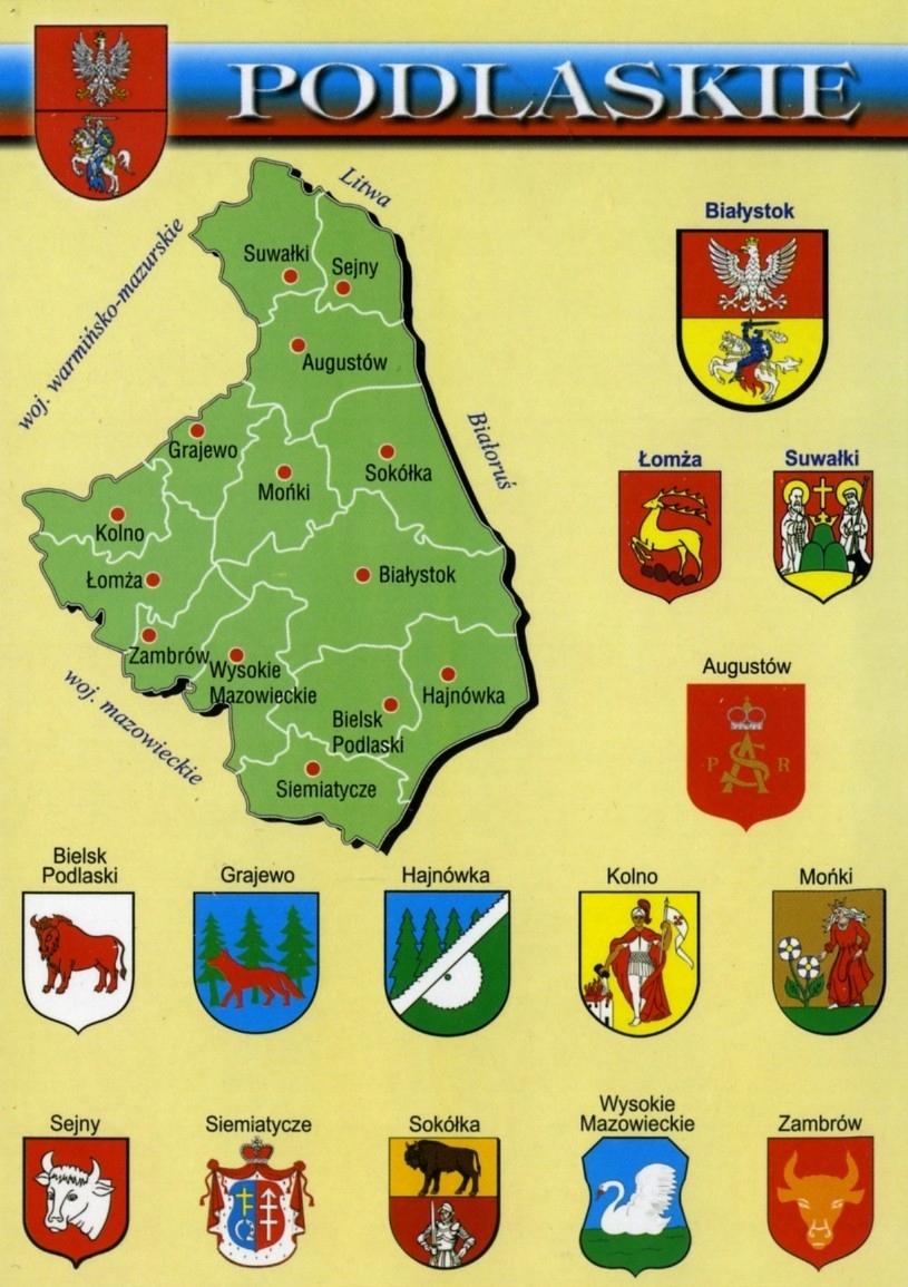 Podlasie vojvodstvo Mapa Herby WR796