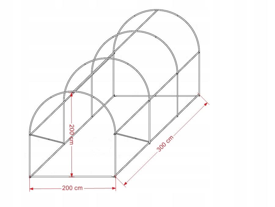 TUNEL FOLIOWY OGRODOWY szklarnia 2x3 m 6m2 (TO2x3) Długość 300 cm