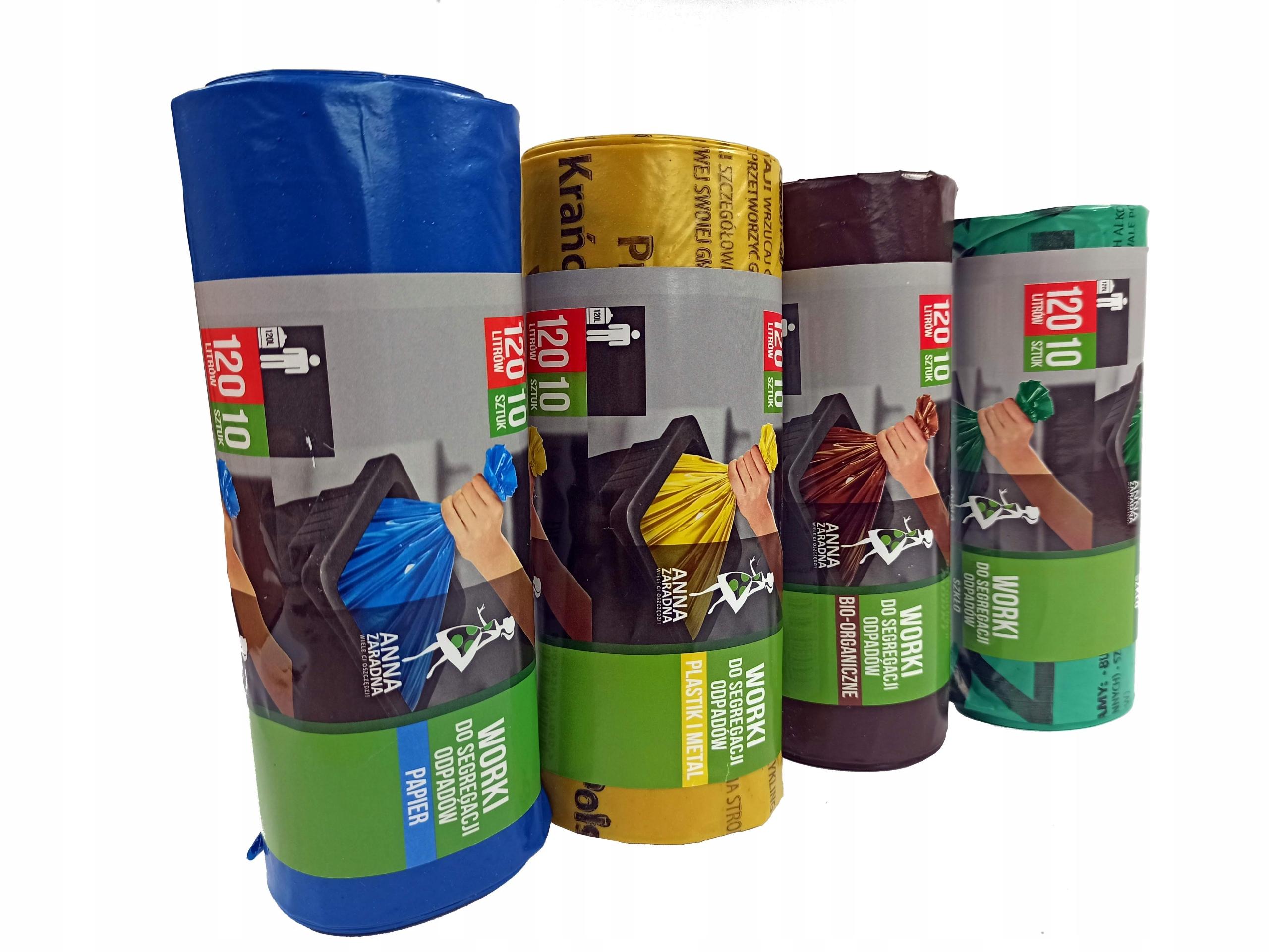 Worki na śmieci, segregacja odpadów KPL 120L 4xa10
