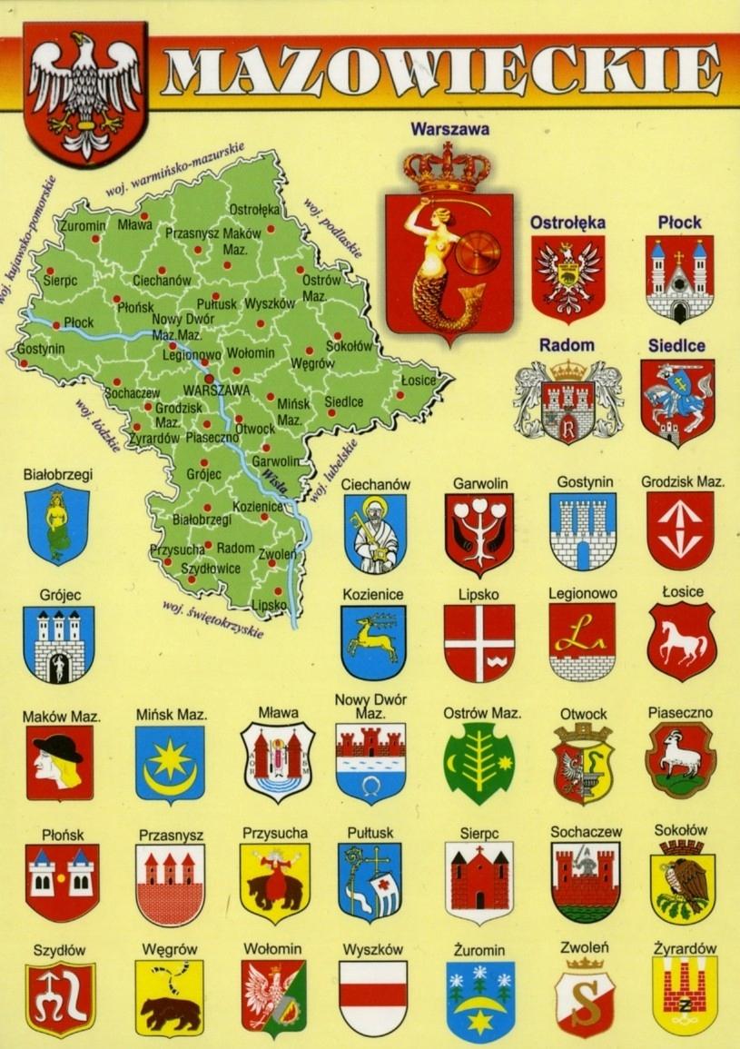 Masovian vojvodstvo Mapa Herby WR803