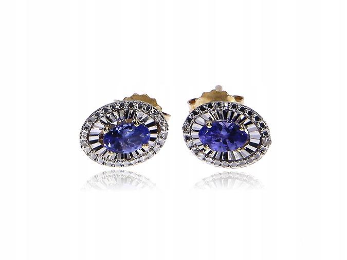 Náušnice zlaté DIAMANTY TANZANIT diamanty LgK618