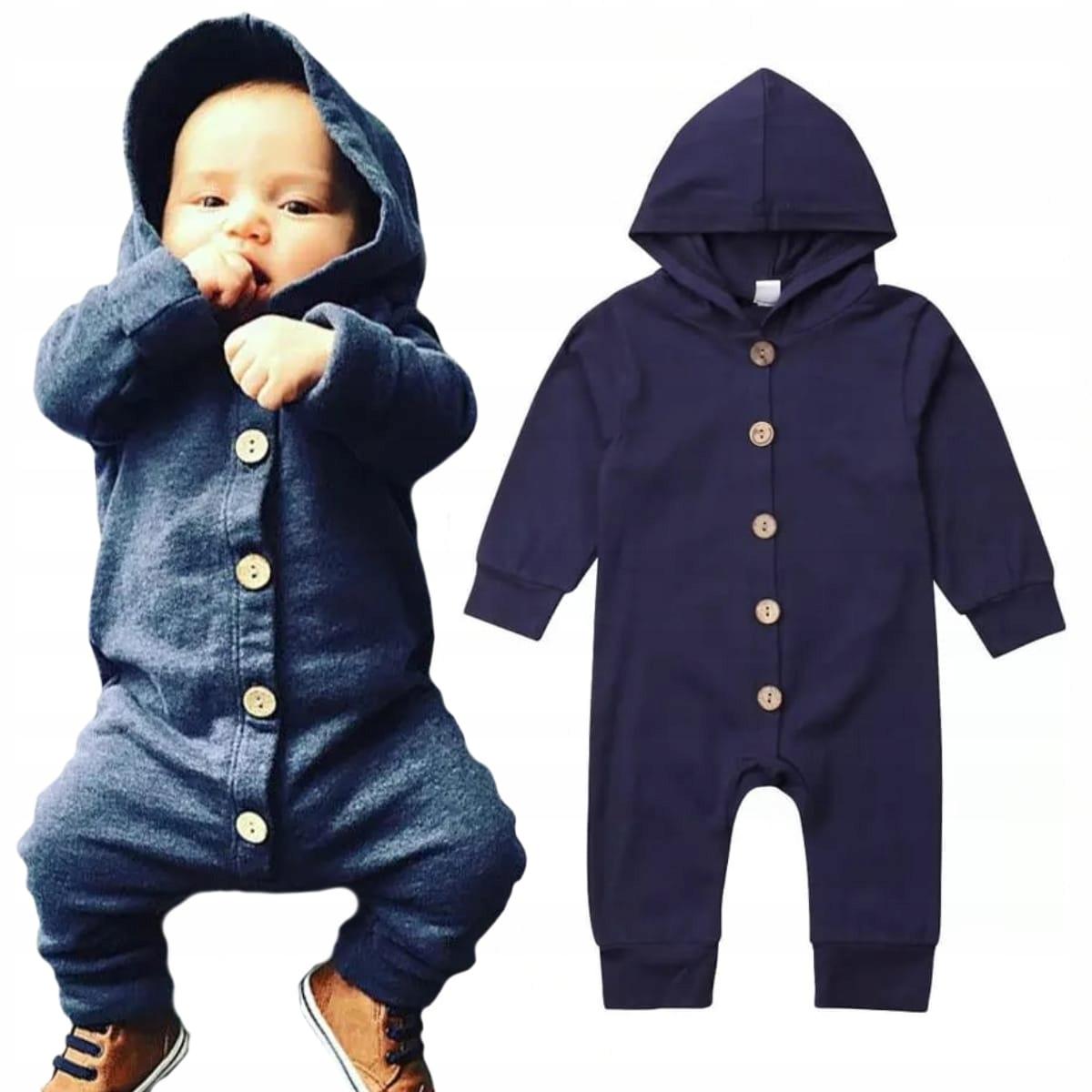 Pajacyk jumpsuit tmavo modré tlačidlo-dole kapucňu, 80