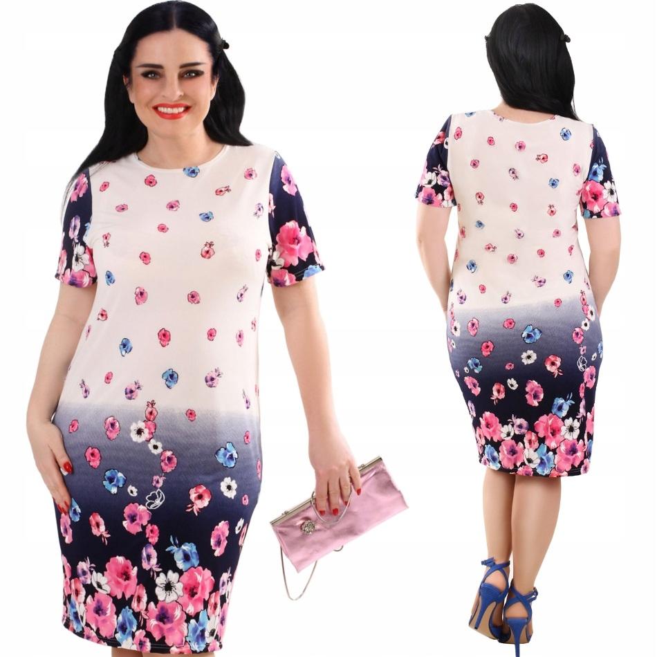 P19 Zwiewna kremowa sukienka w różowe Kwiaty R42