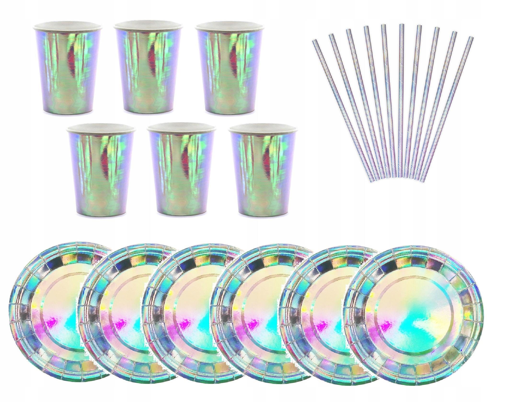 Item SET Sparkling Plates Mugs Straws PANIEŃS