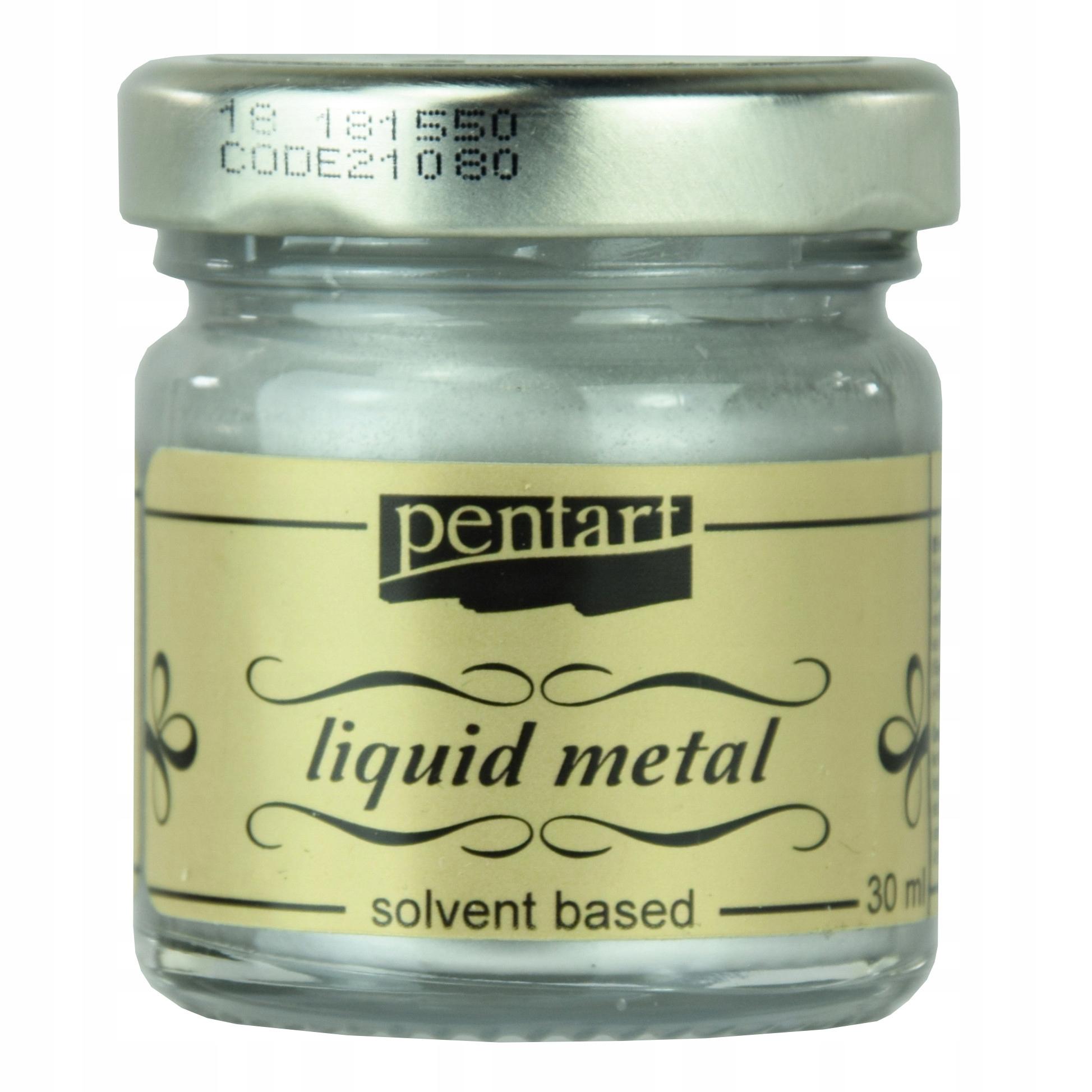 Жидкий Металл краска - Pentart - серебро , 30 мл