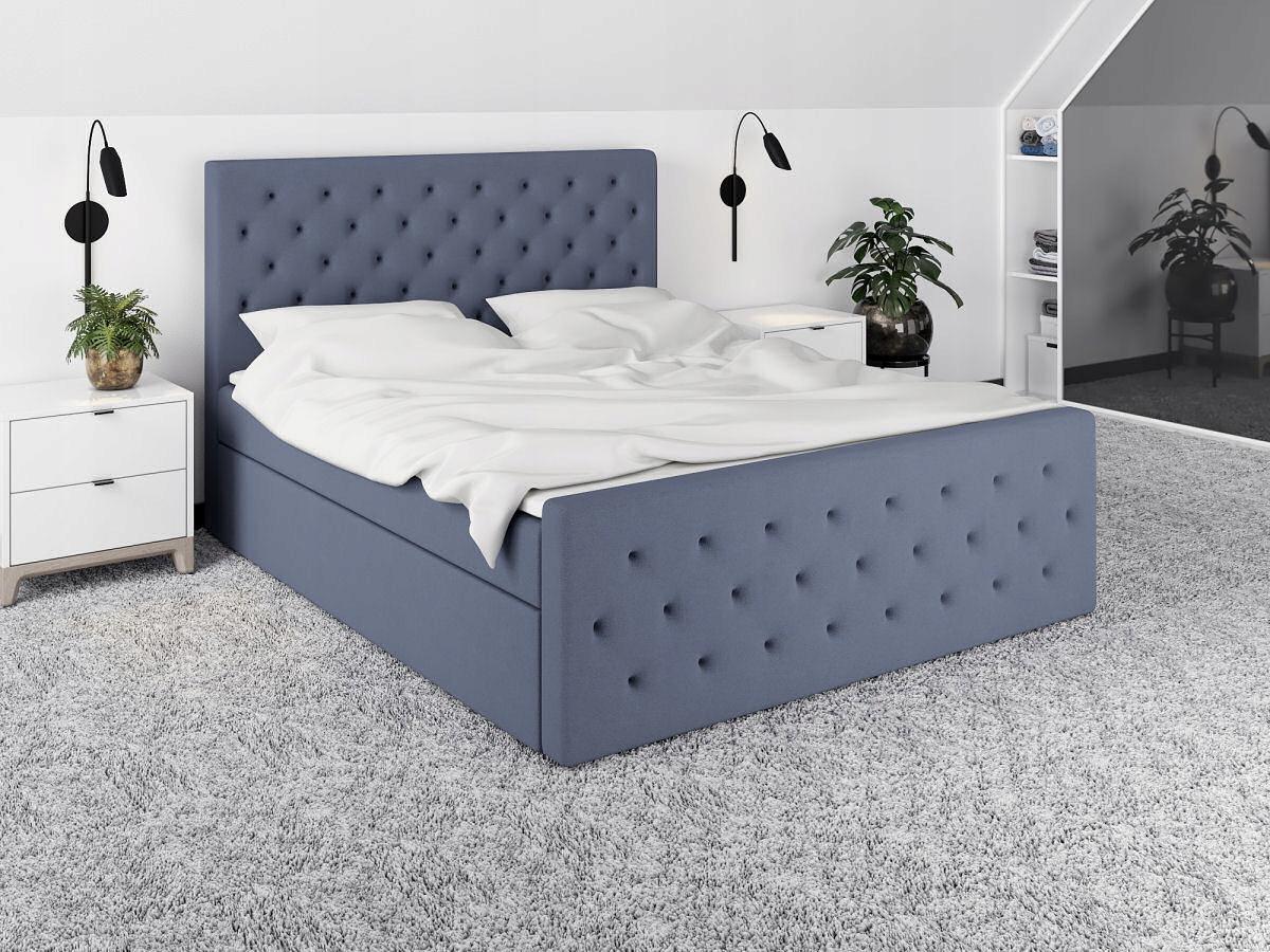 łóżko tapicerowane ALVA stelaż i materac 140x200