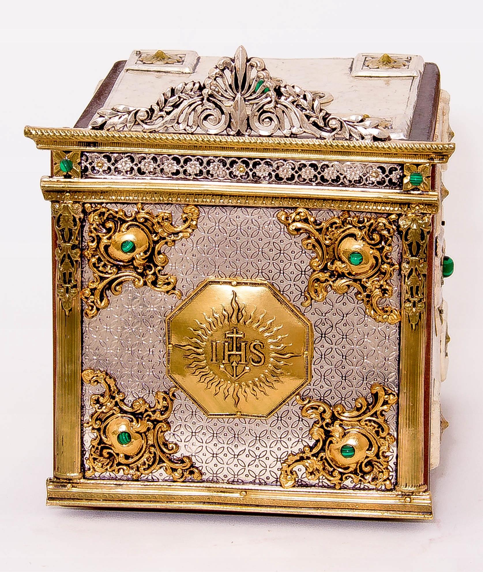 Srebrzone i złocone tabernakulum kolekcjonerskie! Szerokość 14 cm