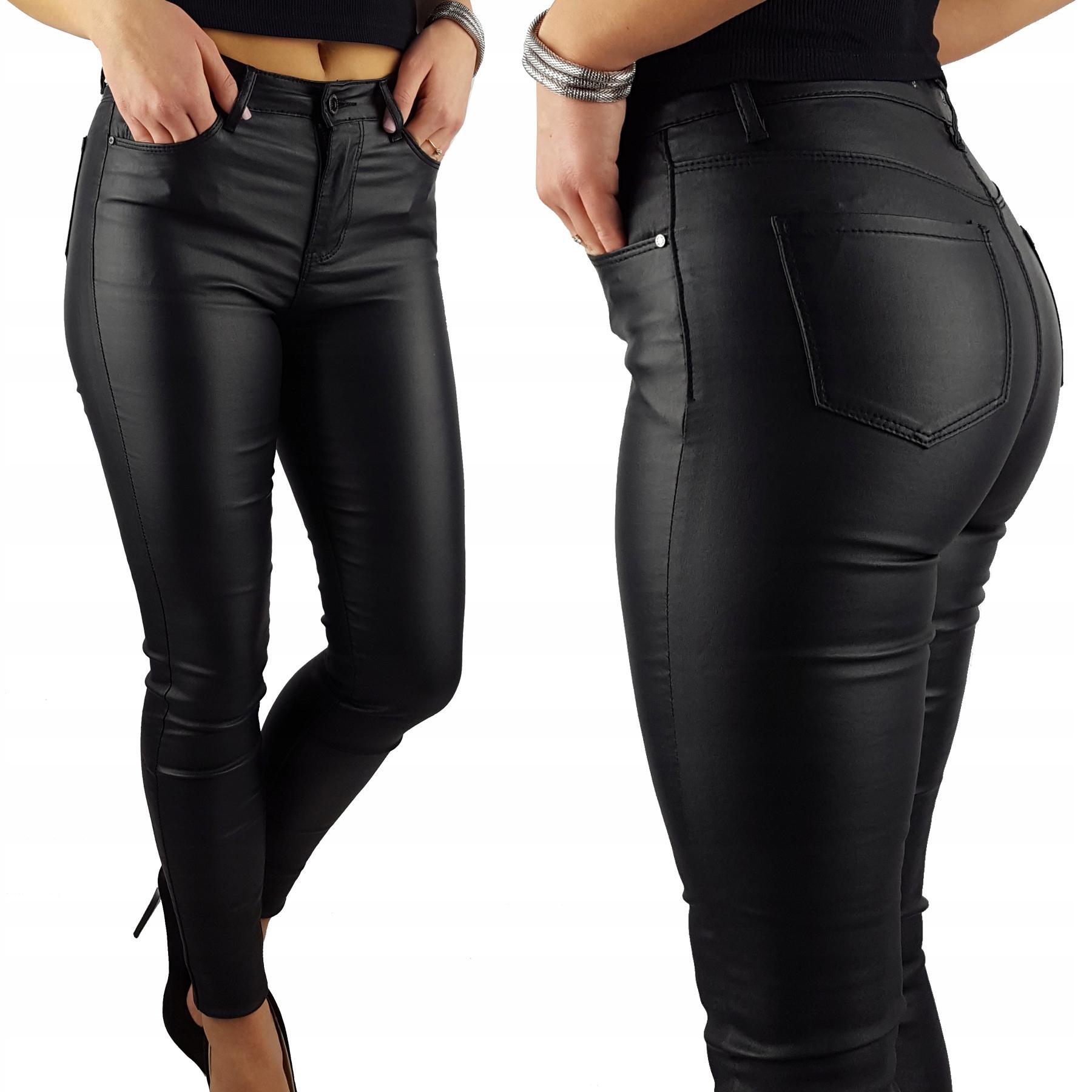 Ocieplane Spodnie Modelujące Woskowane Skóra