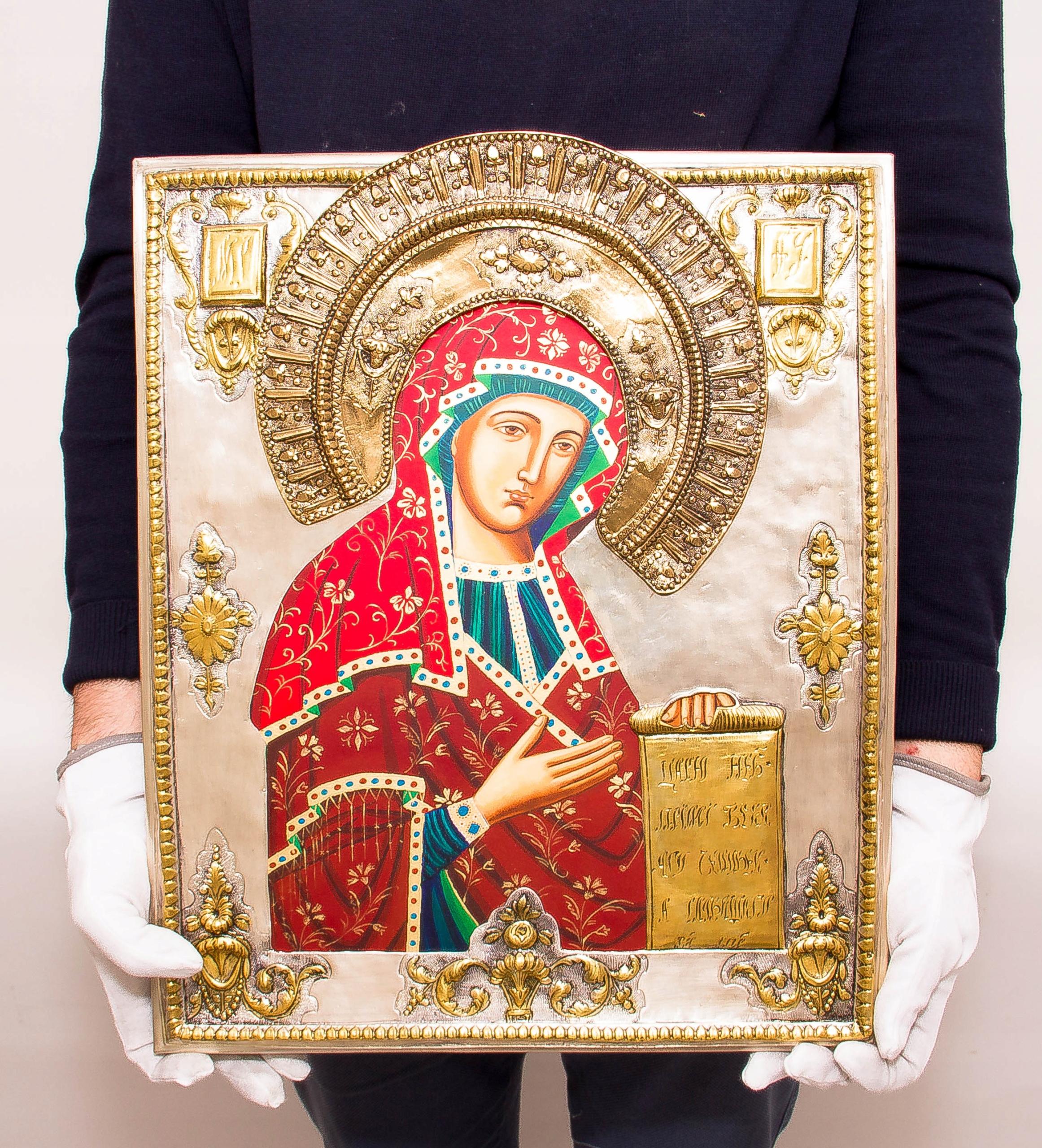 Ikona Matki Bożej Bogolubskiej MALOWANA DUŻA nr39P Oryginalność Oryginalne
