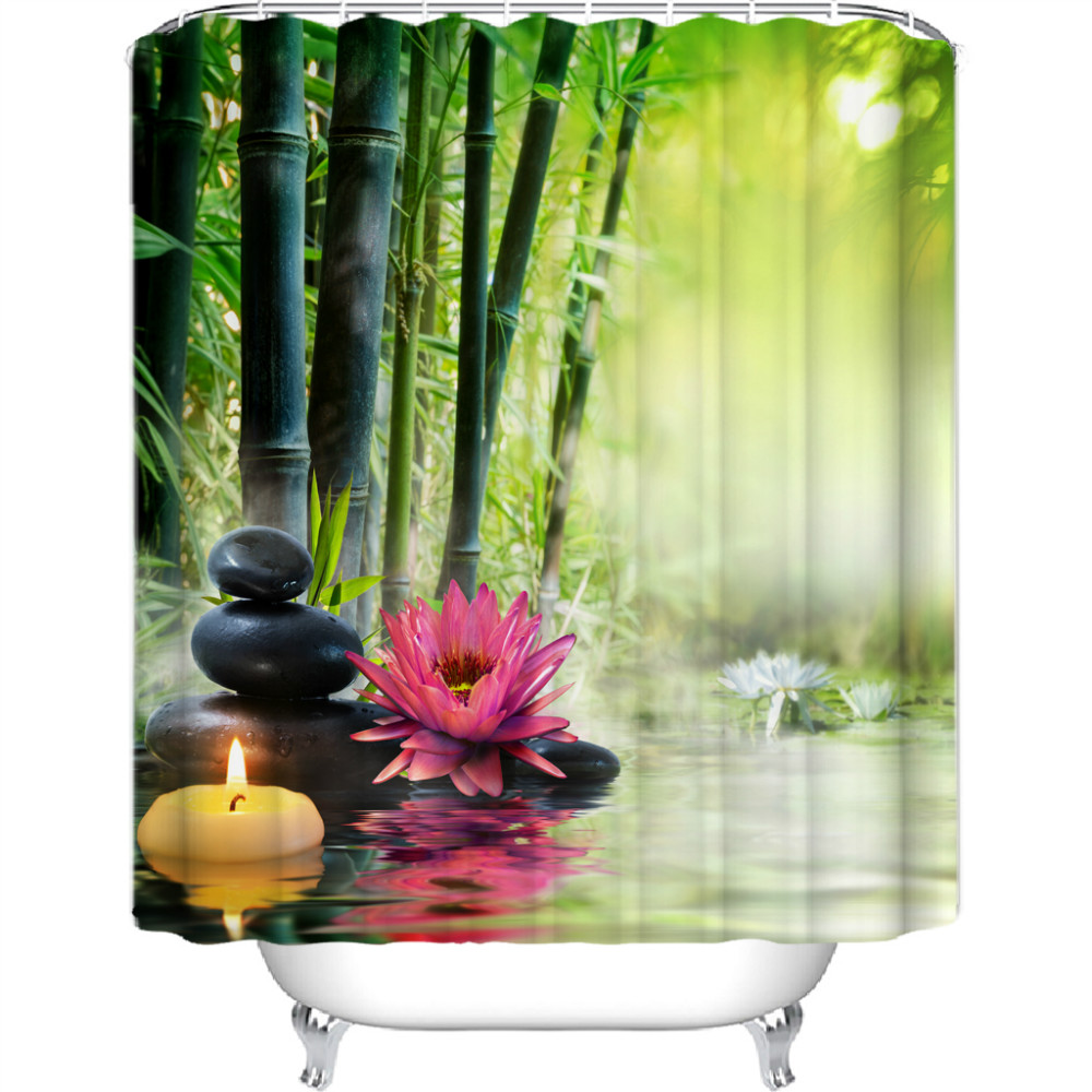 Zen sprchový záves Bambusový kvet 180x200