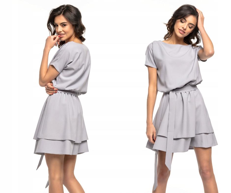 Sukienka oversize rozkloszowana pasek lato, L