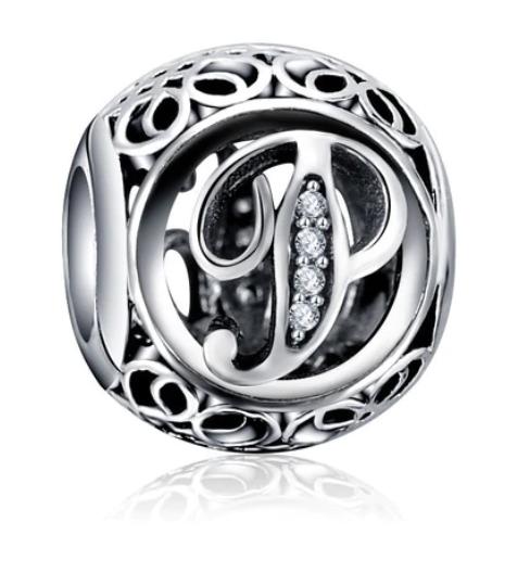PRÍVESKY VINTAGE 925 sterling silver Písmeno P Pandora