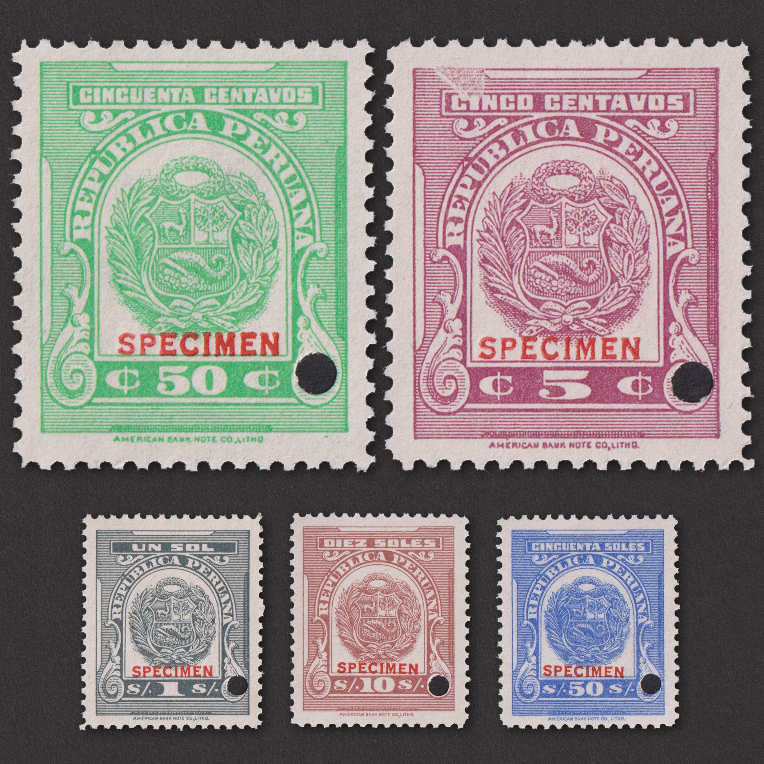 Набор из 5 казначейских марок Перу ** дизайна 1940-х годов