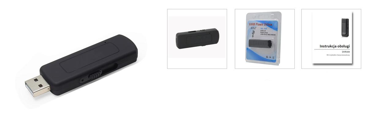 PENDRIVE DYKTAFON PODSŁUCH 8GB USB 16H DET. VOX ! Aktywacja nagrywania głosem tak
