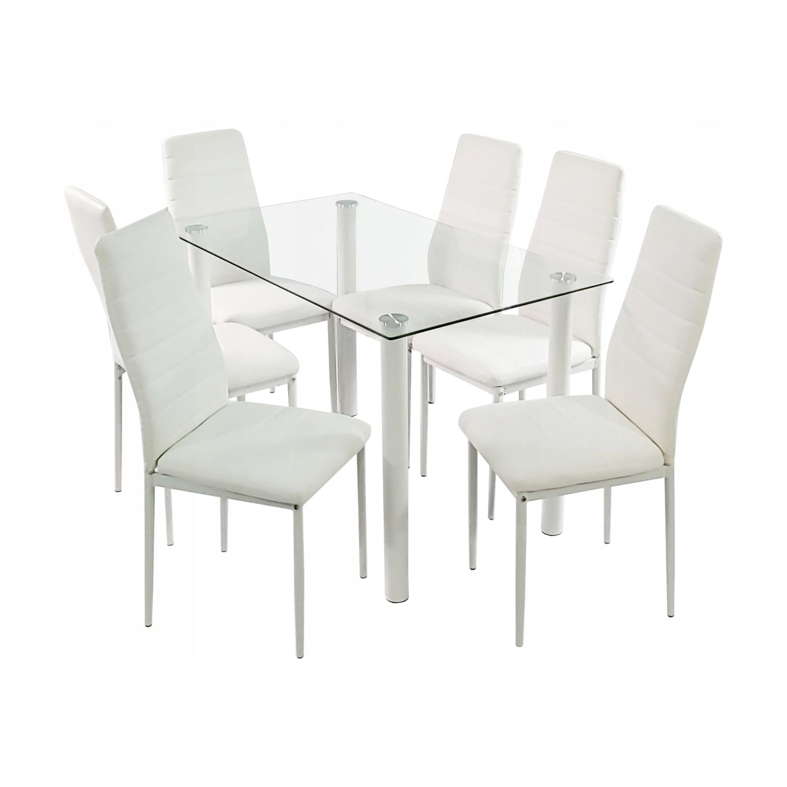 Zestaw stół szklany i 6 krzeseł Nicea białe