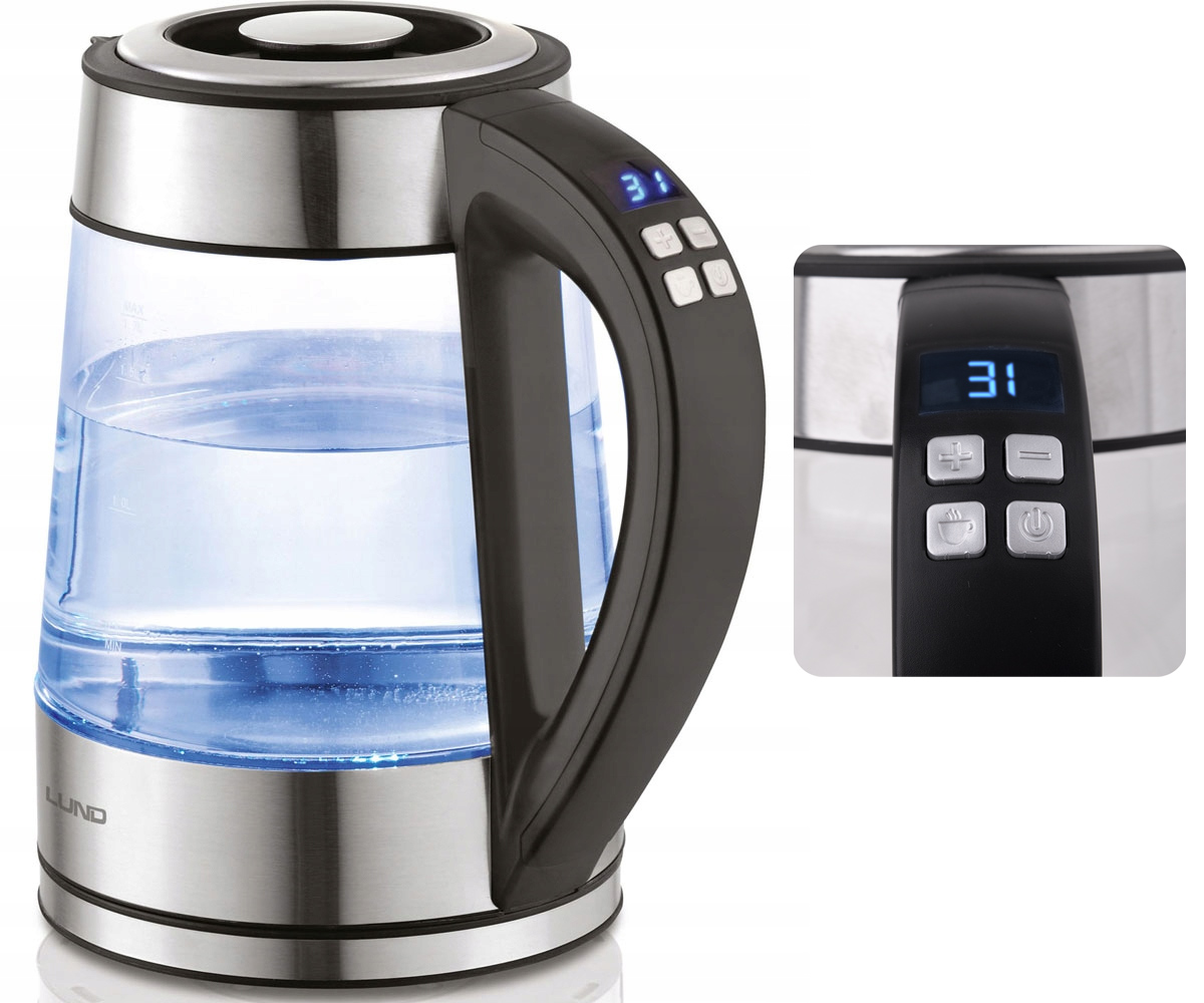 Item ELECTRIC KETTLE GLASS LED 1.7 LITERS REG TEMP LUND