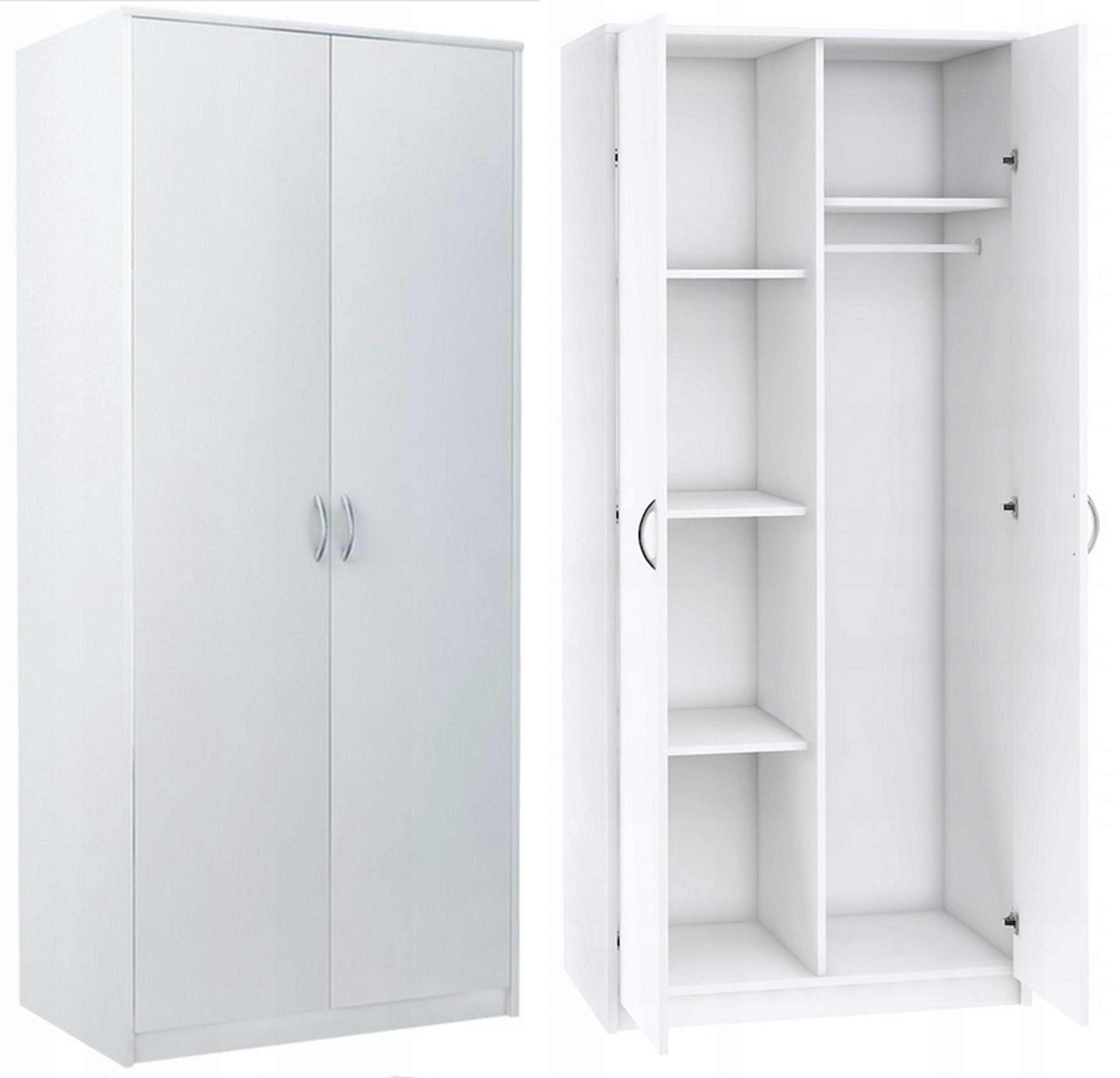 Каф двухдверный, стеллаж для одежды 2Д4П БЕЛЫЙ