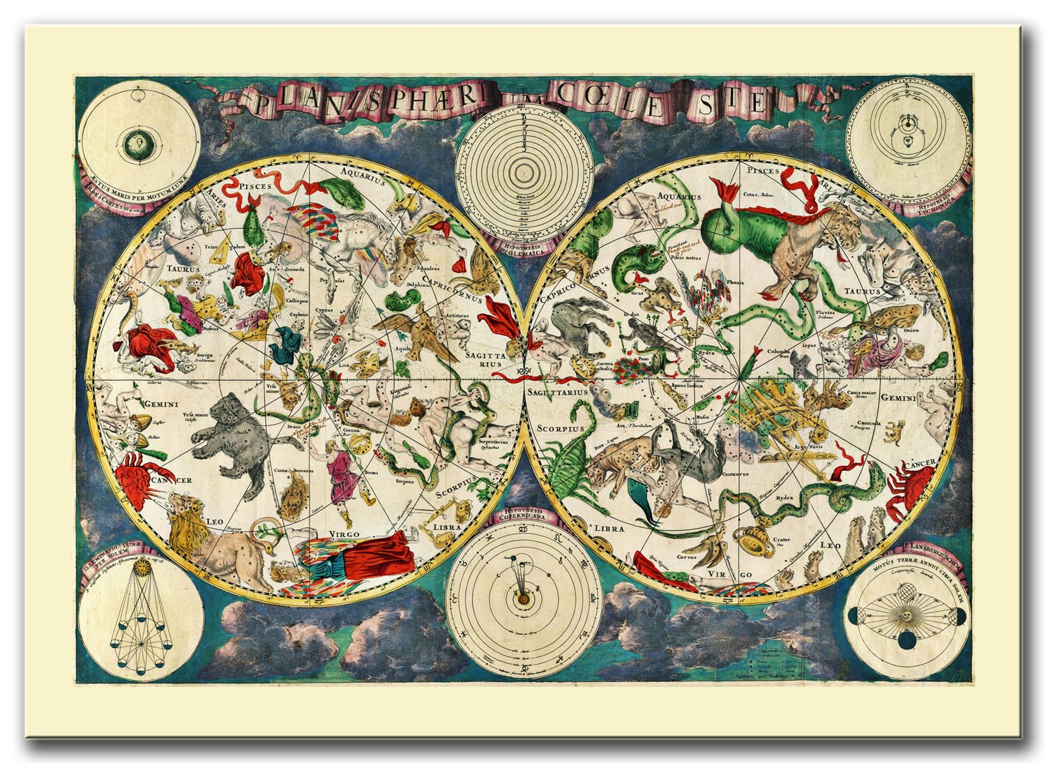 Item SPECTACULAR MAP OF THE SKY THE ZODIAC ON CANVAS VINTAGE