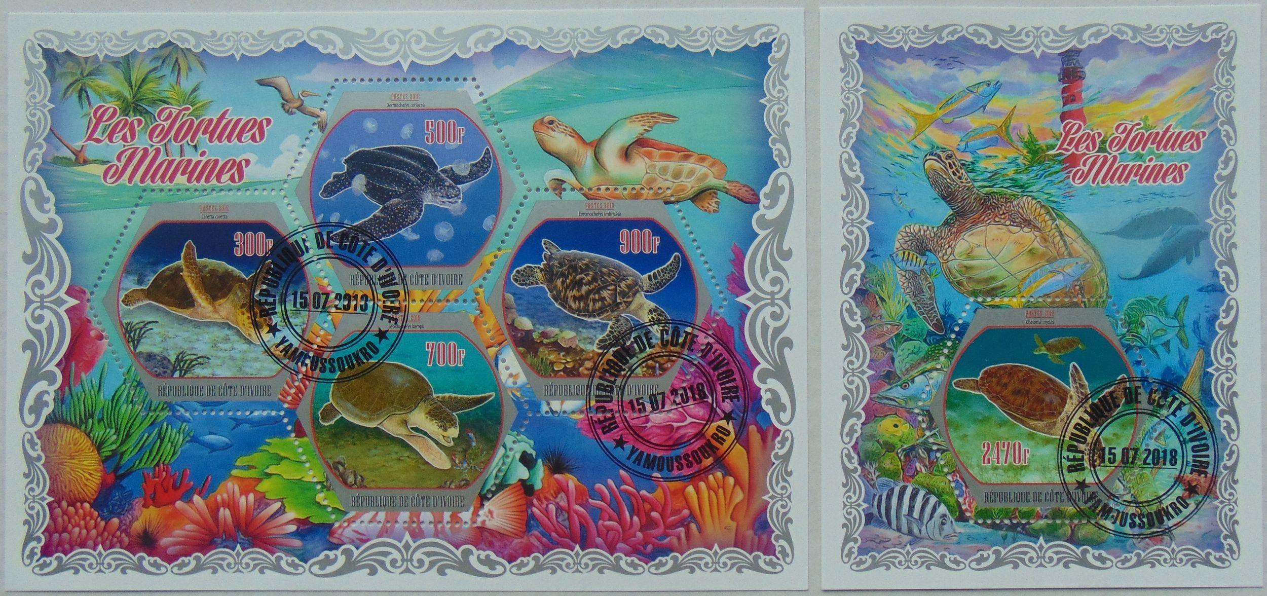 Żółwie morskie Cote d'Ivoire arkusik+blok #1763a-b