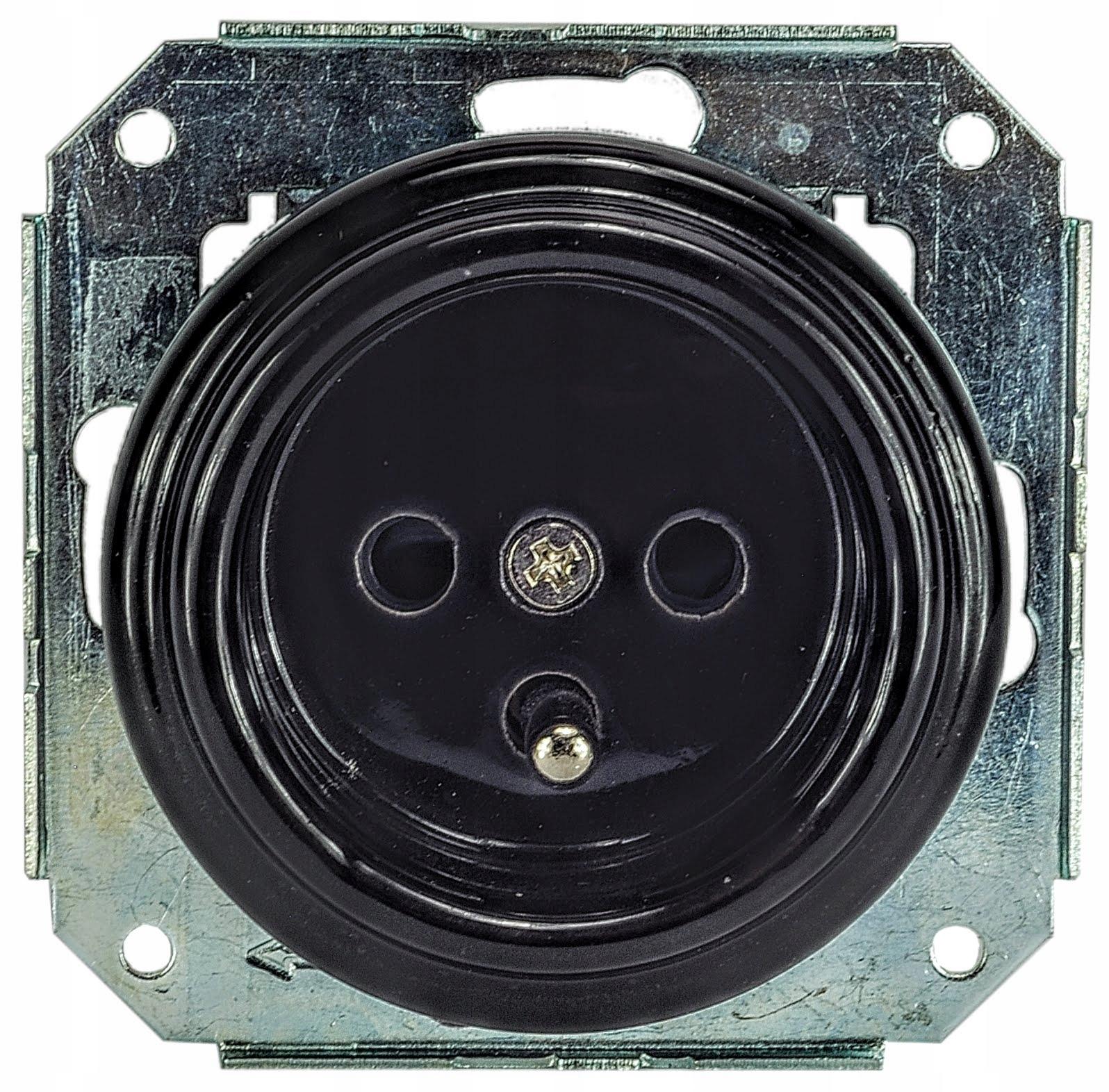 keramický čierny porcelán LOFT retro zásuvka