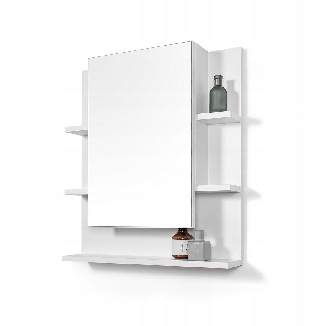 Biała szafka z lustrem lustro łazienkowe z półkami