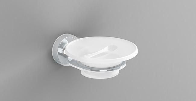 ŁÓDŹ pohár na mydlo + kov SONIA Tecno biela