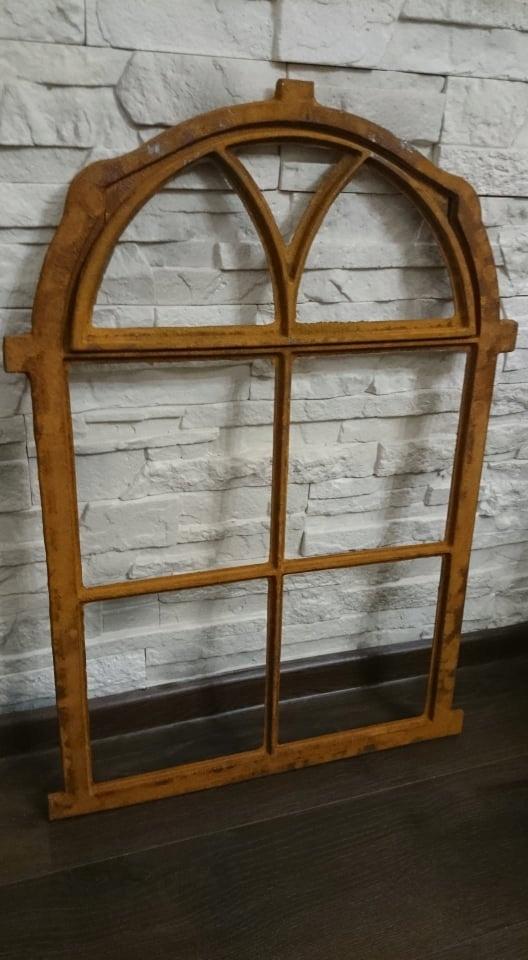 NOVÉ liatinové polkruhové sklopné retro okno 75x50cm