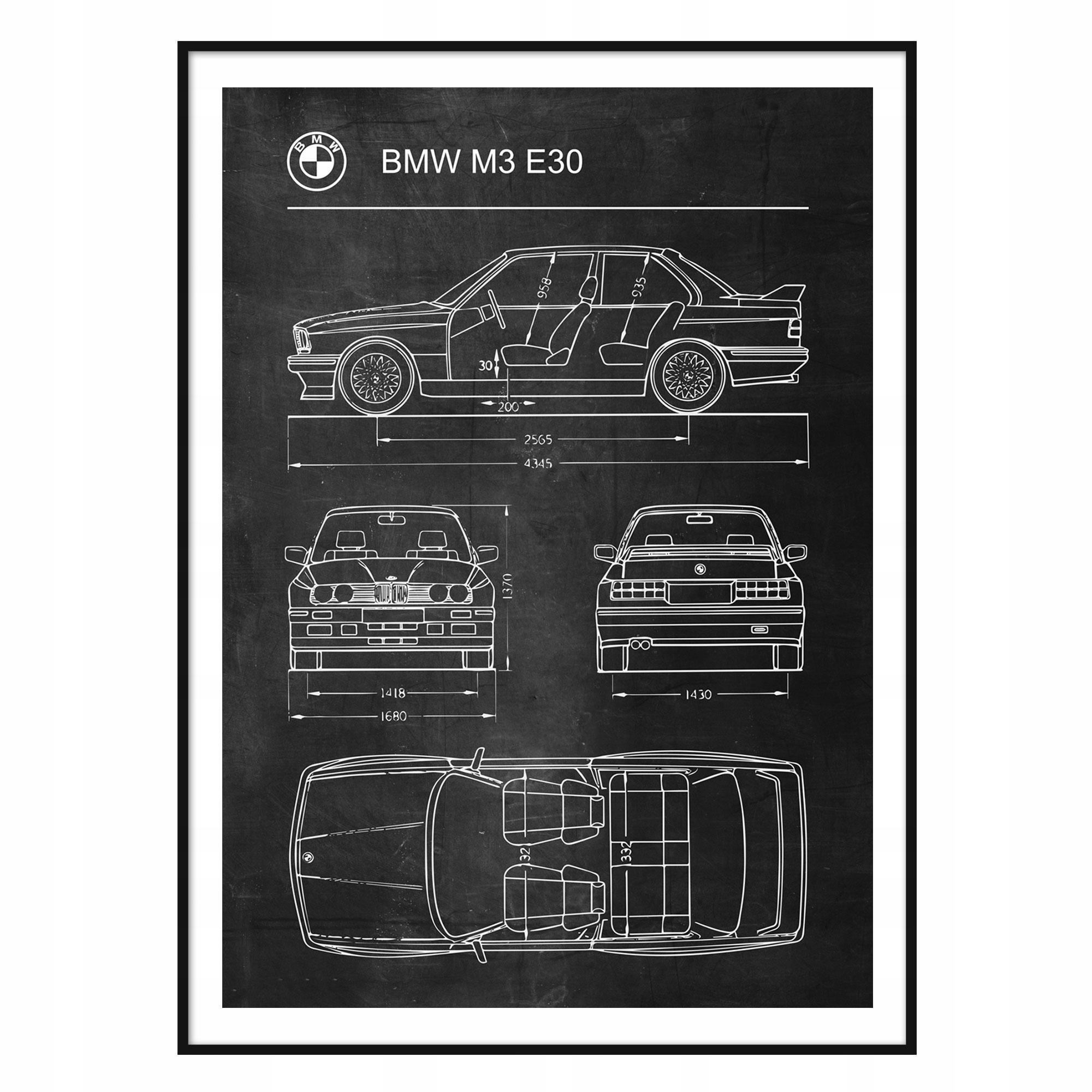 Plagát BMW E30 M3 Retro Patent Plagát Schémy