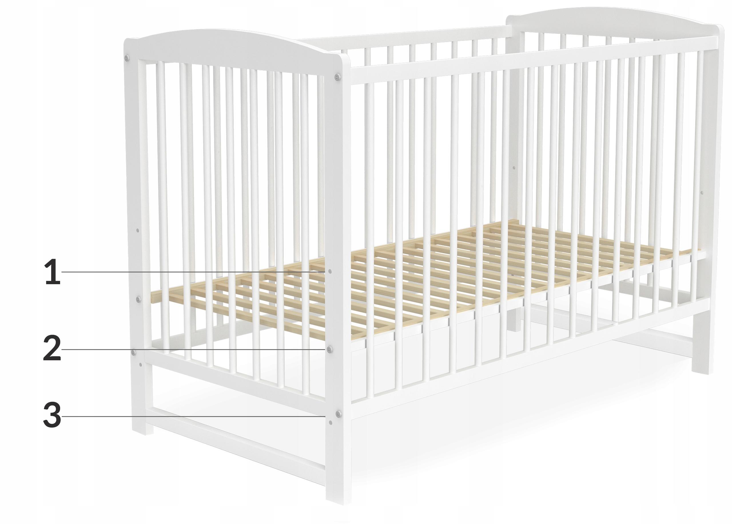 Łóżeczko dziecięce 60x120 cm ADAŚ białe 2w1 EAN 5902841969124