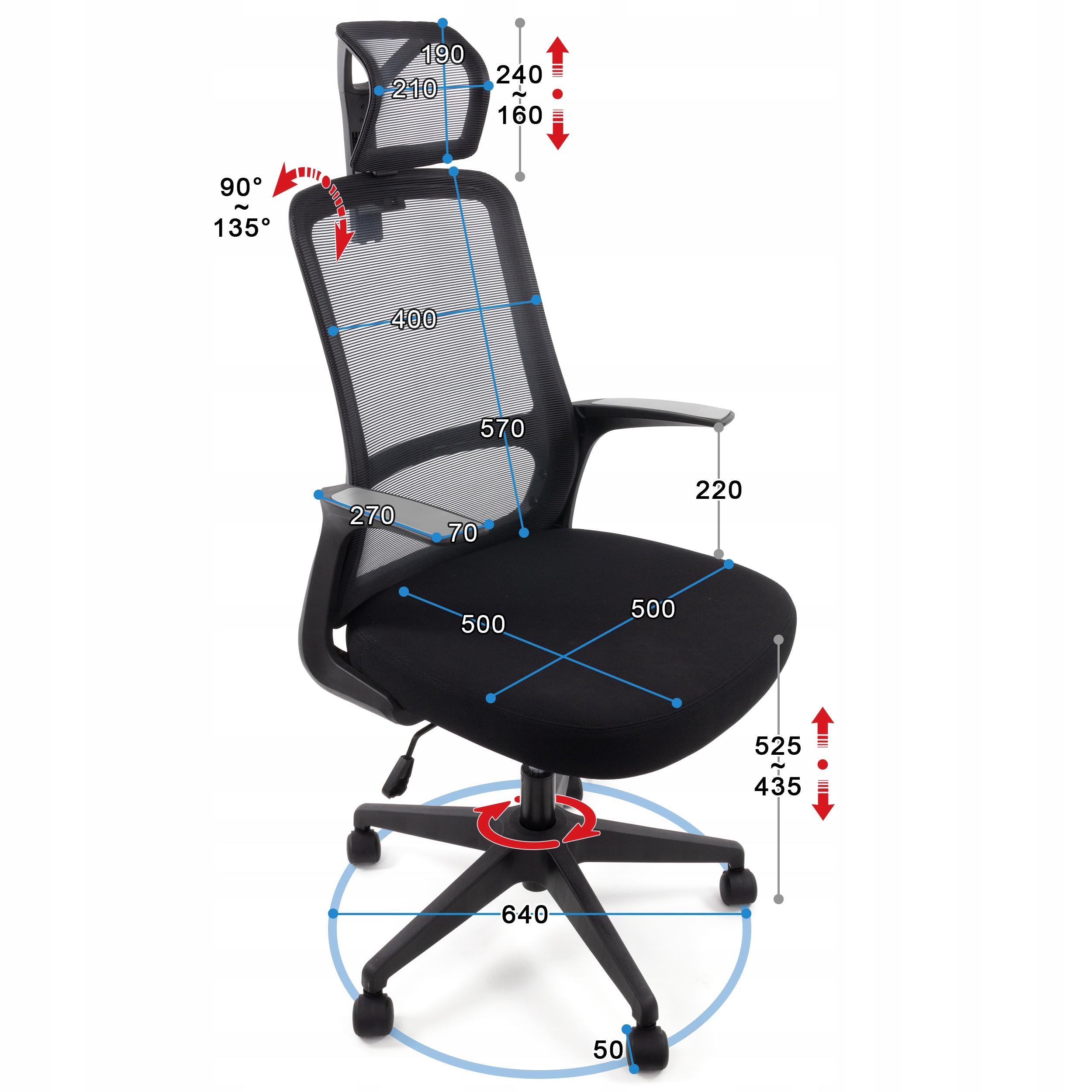 Ергономічний офісний стілець Поворотне крісло AMO-90 Колір оббивки чорний