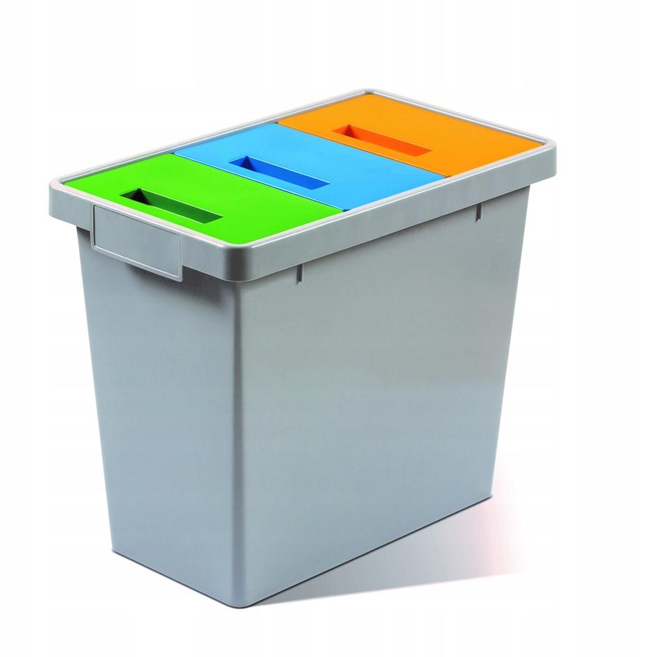 Тройная Корзина для сегрегации мусора 40л