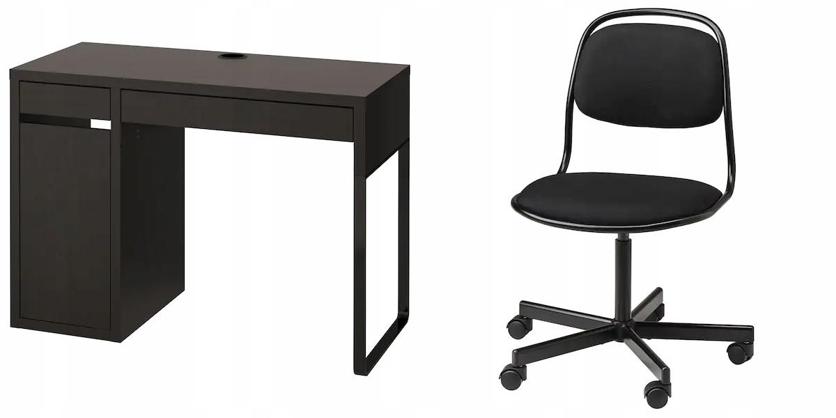 IKEA MICKE Stôl + ORFJALL otočná Stolička, čierna