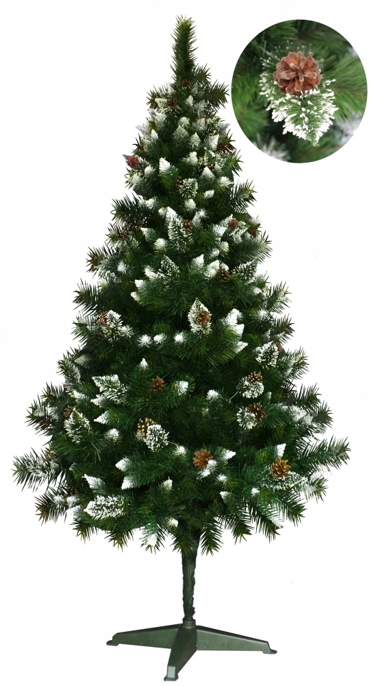 Umelý vianočný stromček DIAMOND sneh + šišky 150 cm