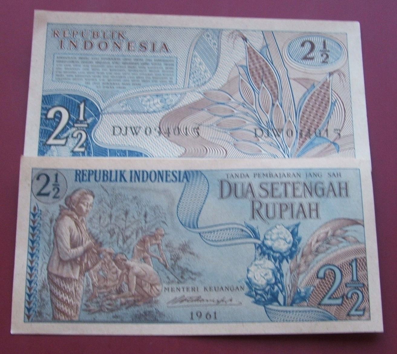 BANKNOT STARA INDONEZJA 2 1/2 RUPIAH 1961 ROK UNC