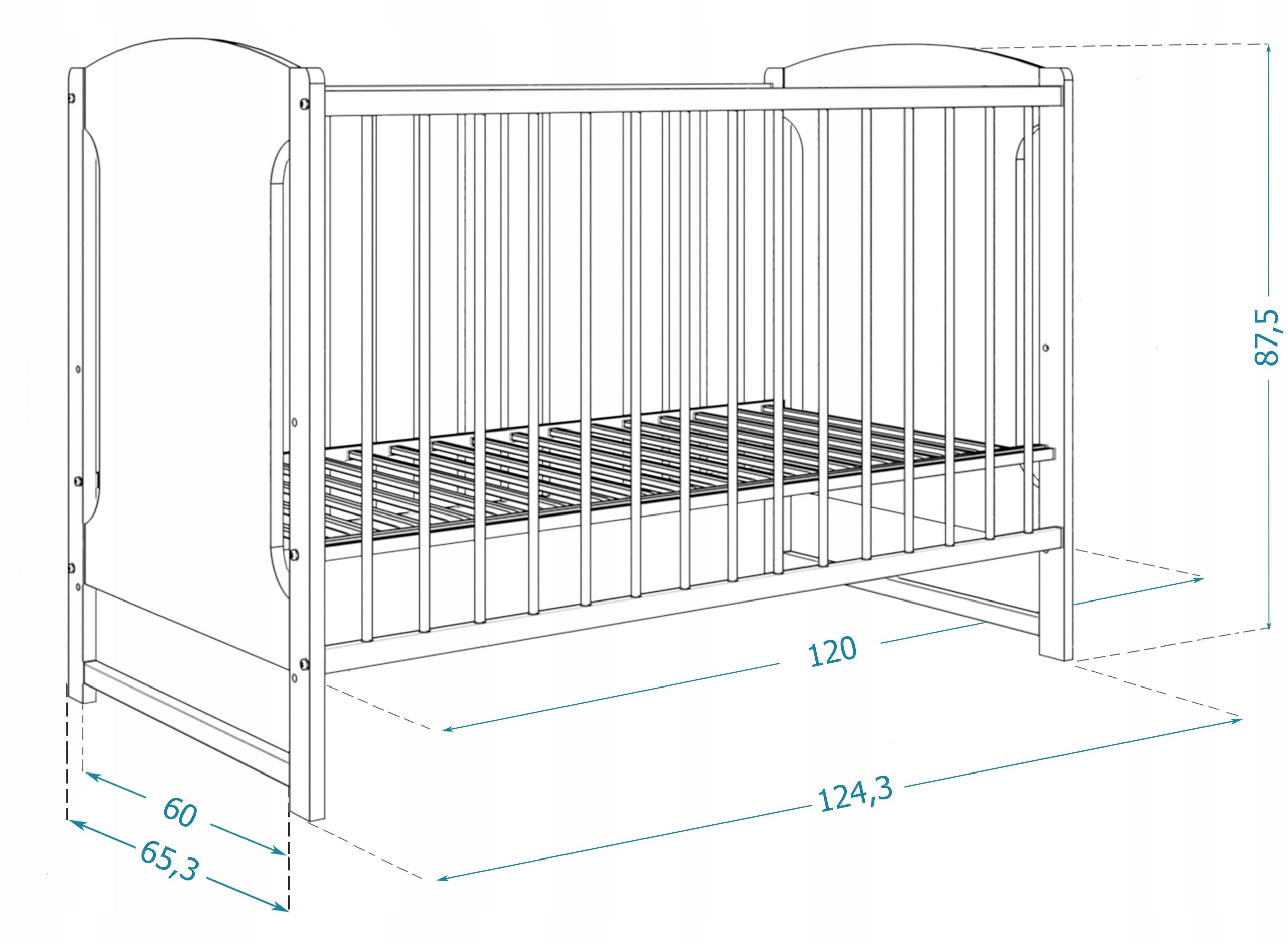 Łóżeczko 60x120 cm TOLA szuflada 2w1 bez materaca Szerokość 60 cm