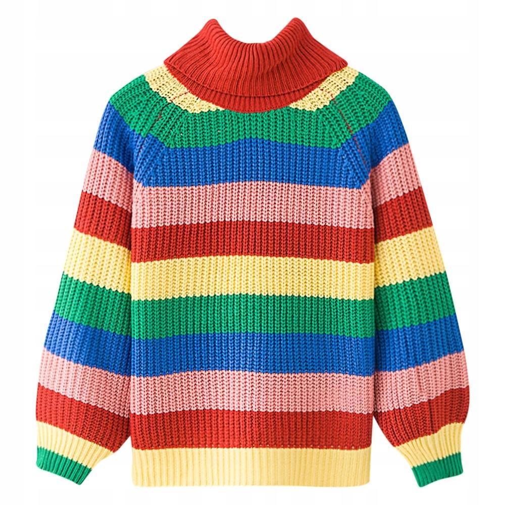 Rainbow žien sveter s veľkými golier retro