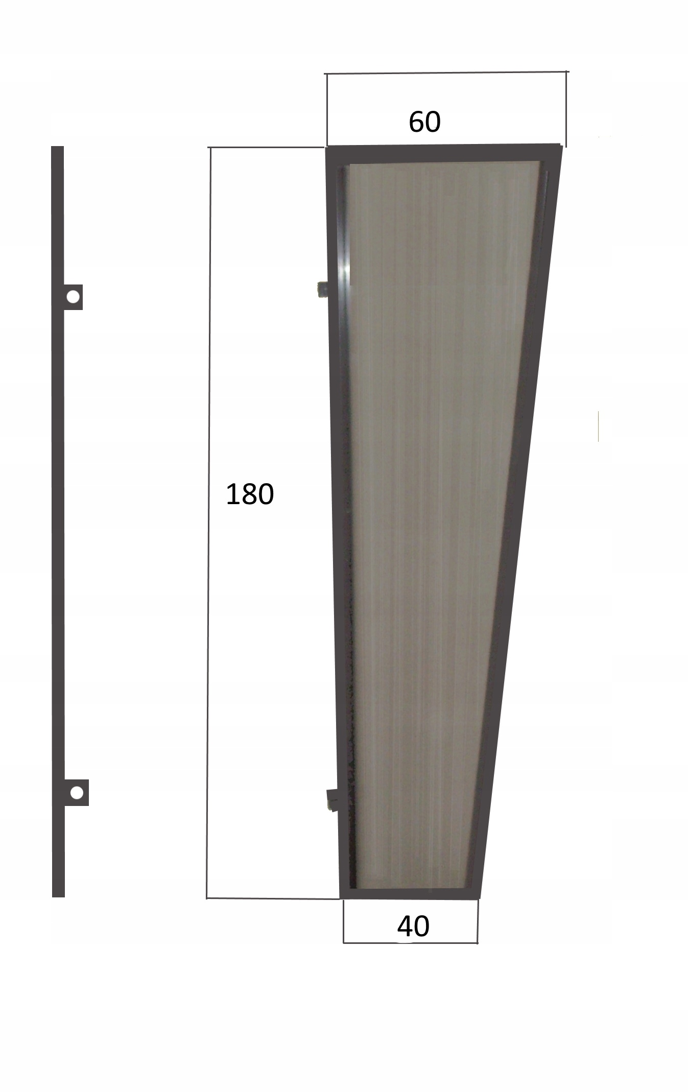 Bočná stena pre markízy nad dverami, 180x60x40