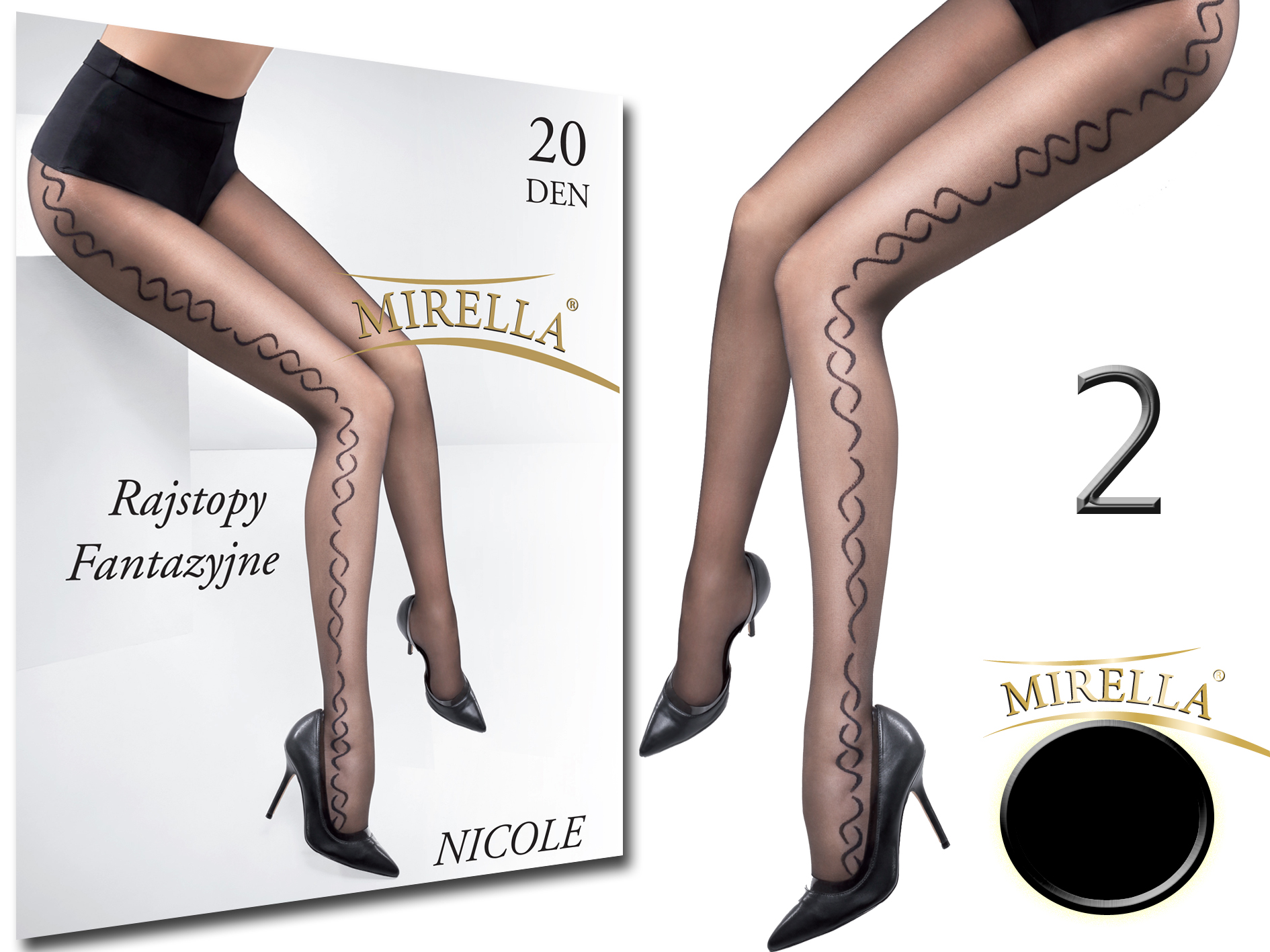 Mirella Rajstopy we wzory 20den Nicole 2 (M) Nero