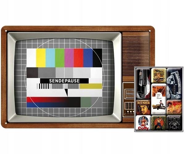 Magnetické Dosky retro TV 20x30 cm s 9 magnety