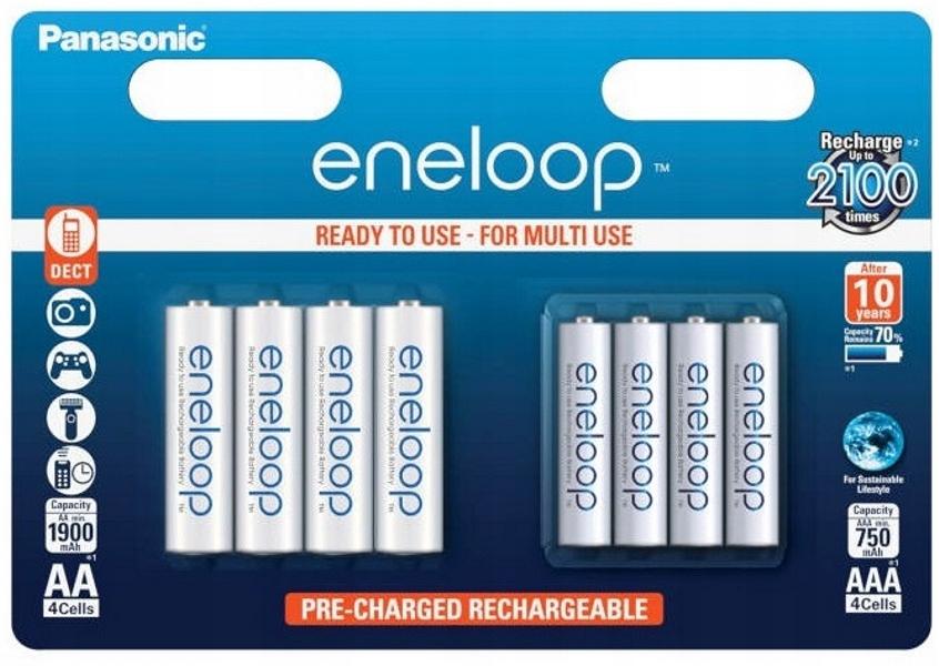 Item 4 + 4 PANASONIC BATTERIES ENELOOP R6/AA, R03/AAA