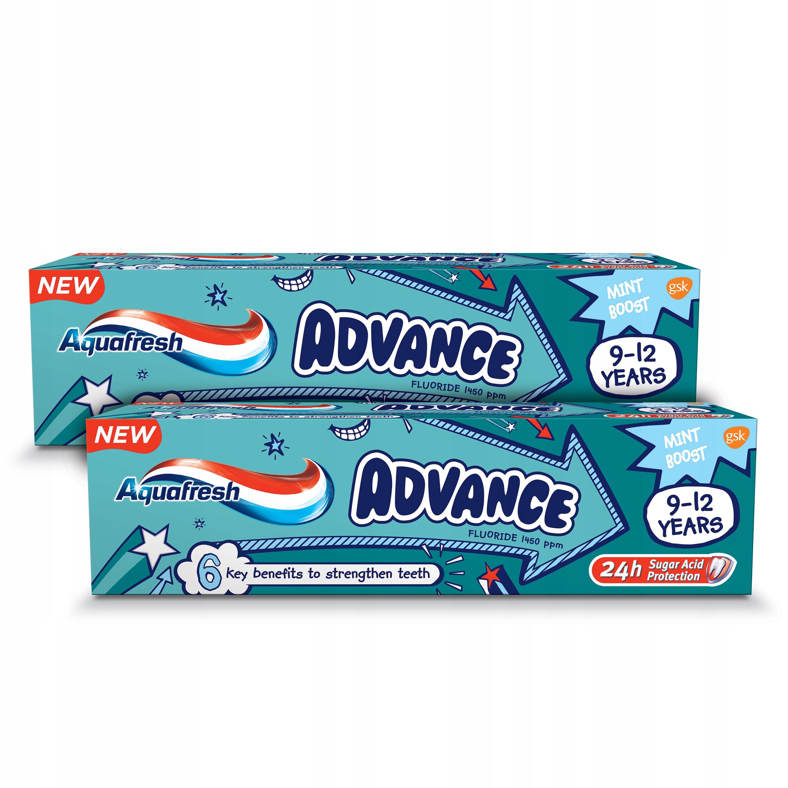 AQUAFRESH Advance 2 Пасты для детей 9 - 12 лет