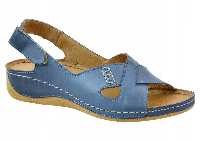 Sandały Pollonus 5-0780 niebieski 40 miękkie skóra