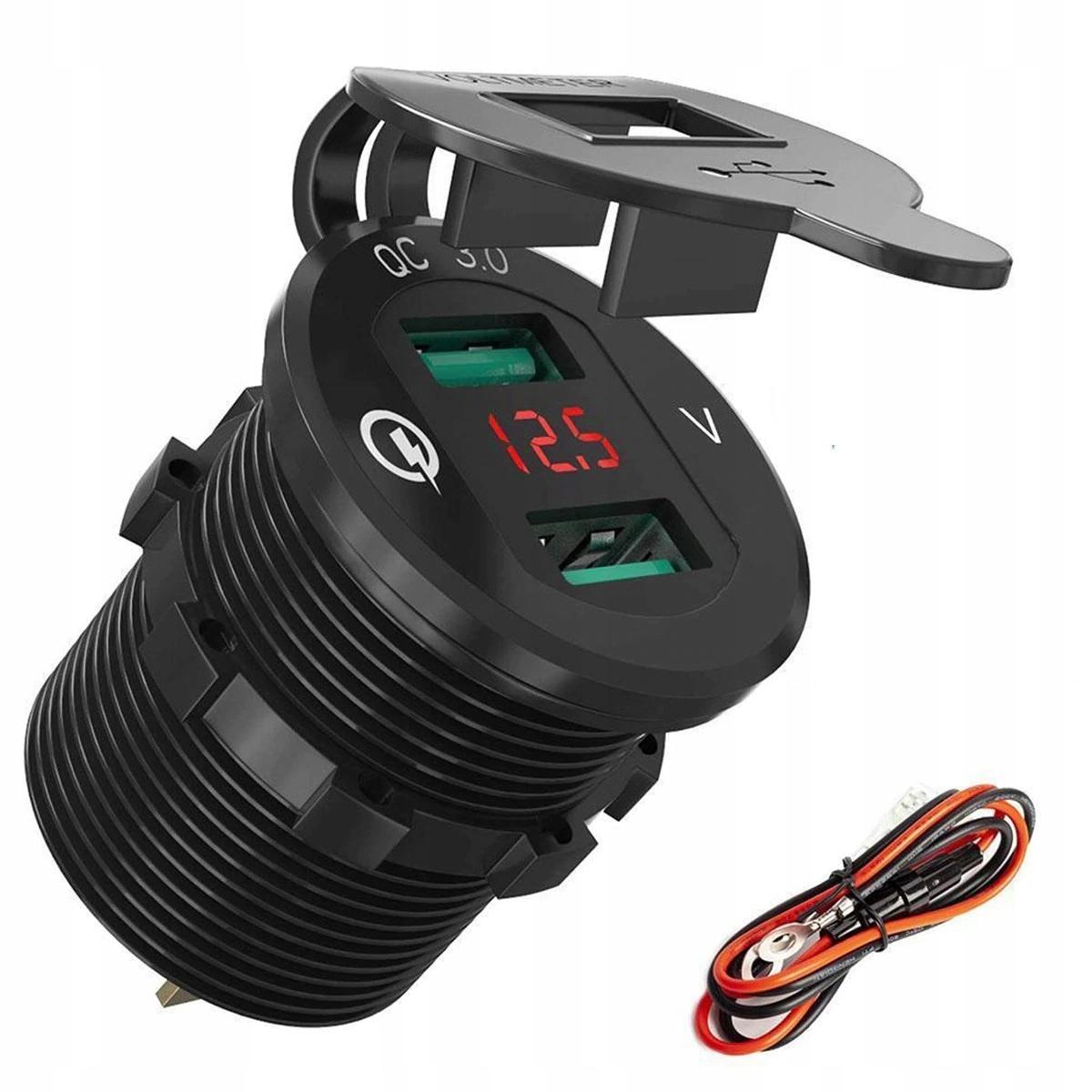 Зарядное устройство автомобиль 2x usb qc30 вольтметр 3a alu