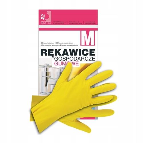 BRATEK Перчатки хозяйственные резиновые флокированные S