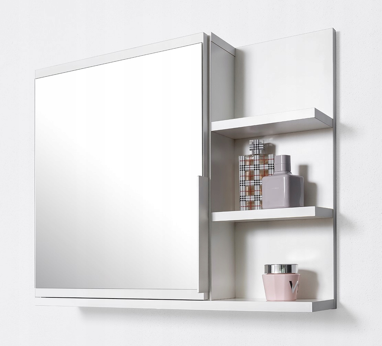 Biała szafka z lustrem, szafka łazienkowa, półki