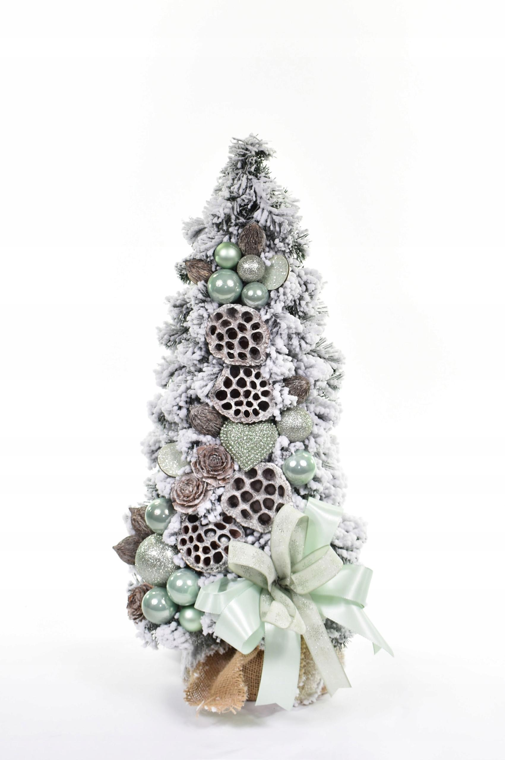 Zdobený kónický vianočný stromček, mäta 60 cm